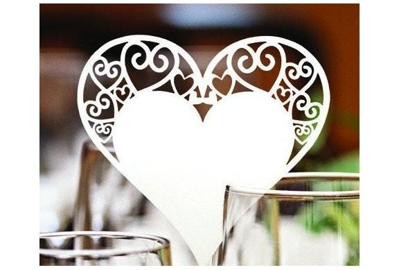 Cuore in carta per decorazione nozze bicchieri